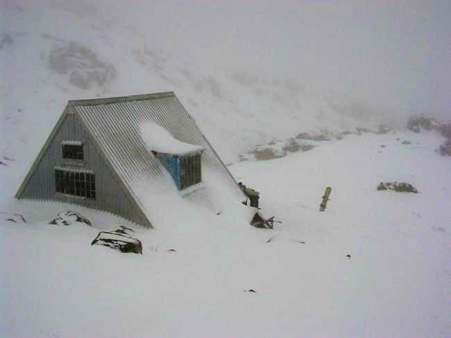 Hoare Hut on a very wintery...