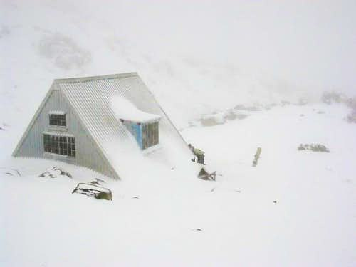 Hoare Hut on a very wintery...