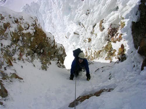 Adam exiting the first couloir