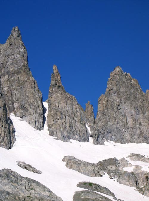 Dawson, Dyer, and Jensen Minarets from Cecile Lake