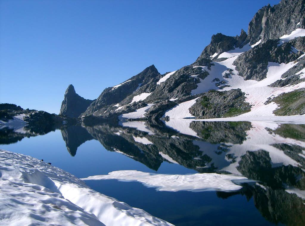 Riegelhuth, Pridham, and Kehrlein Minarets Reflecting in Cecile Lake