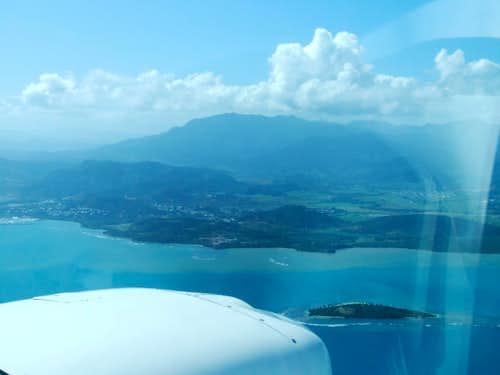 Airplane view over Sierra de Luquillo range