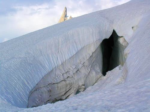 Crevasse of the glacier du Géant