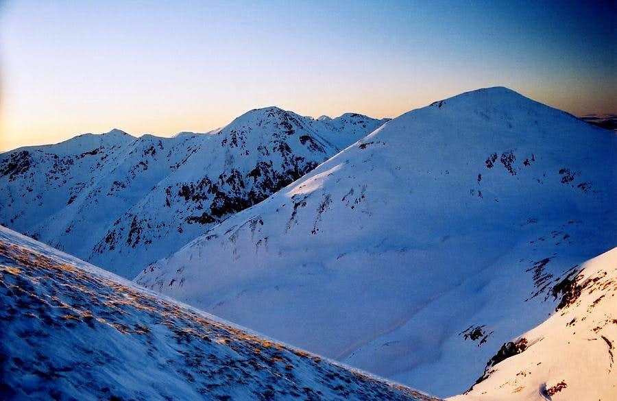 Winter sunset under Blyszcz - Western Tatras