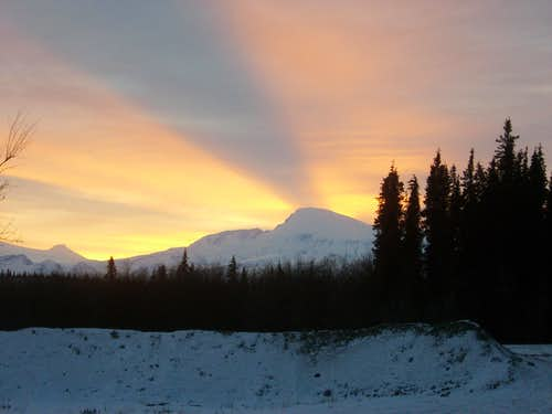 Sunset on the Wrangell Mountains