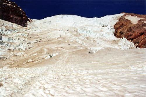 Rope teams on Emmons Glacier