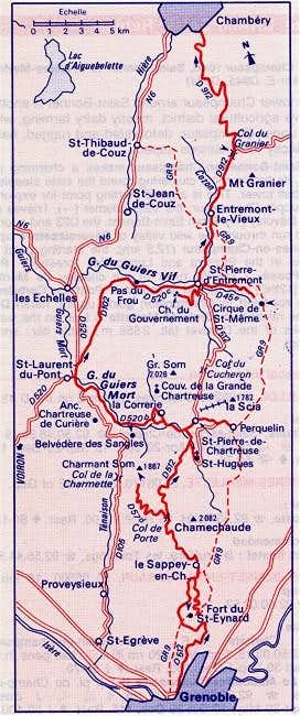 Map showing Sappey-en...