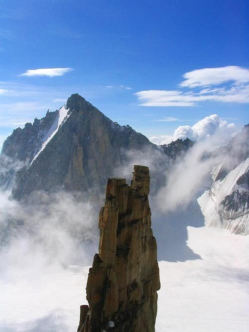View of the Trident needle from Grand Capucin