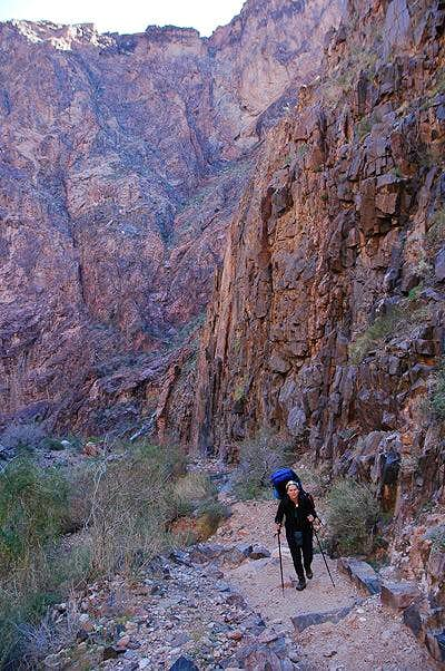 Starting our way up the Bright Angel Trail