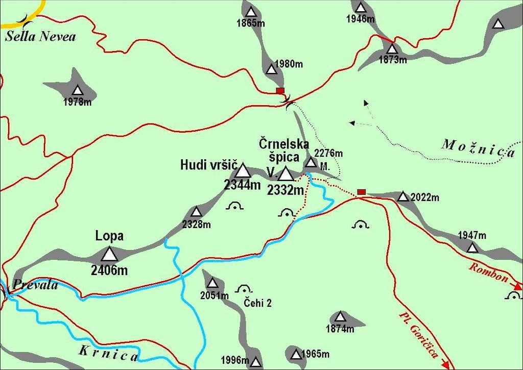 Velika Crnelska spica map
