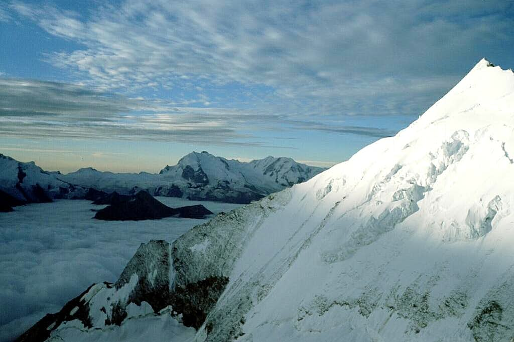 Weisshorn E Ridge - Monte Rosa and Lyskamm in the background