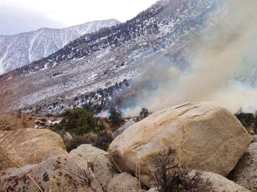 Fire at the base of Mt. Whitney