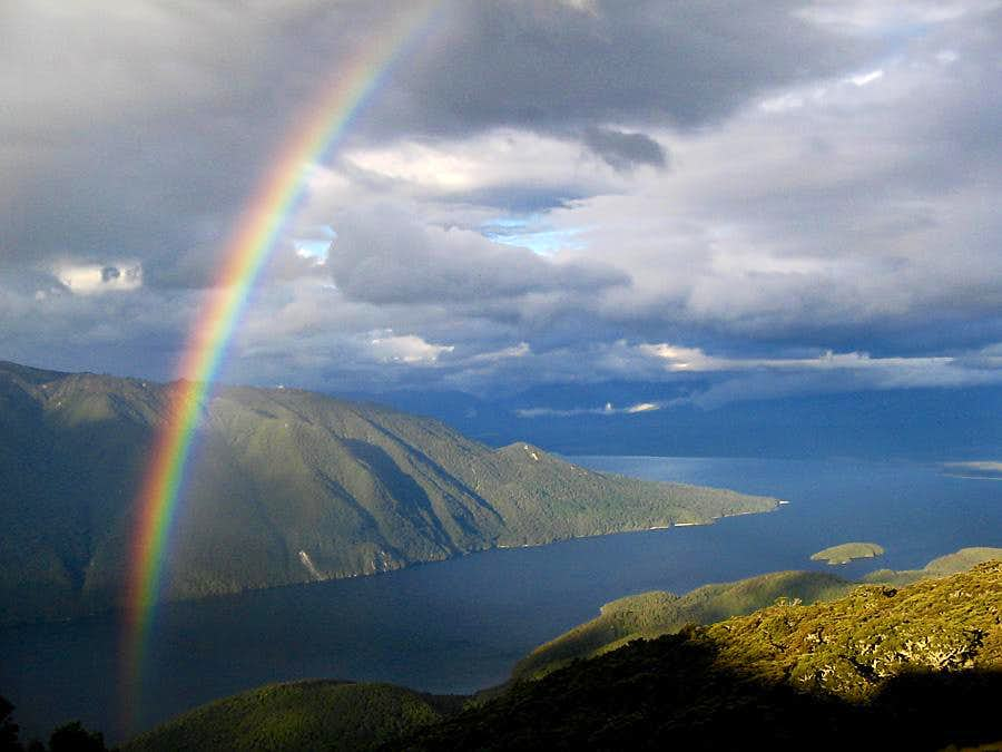 Rainbow over lake Te Anau