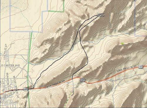 Routes for Sunrise Mtn.