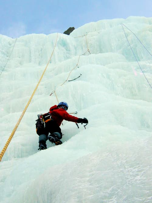 Cleaning a pitch on Chouinard Falls