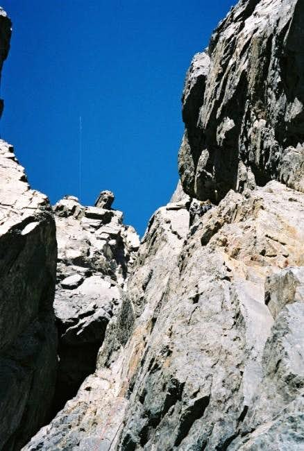 Climbing the crux pitch in...
