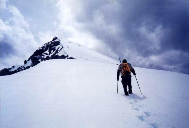 Heading up the ridge on the...