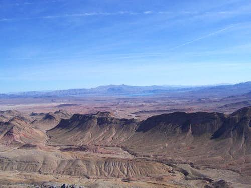 A view towards Lake Mead from the summit