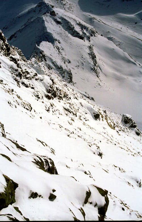 Looking down  Hörnligrat in winter