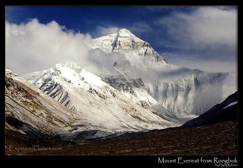 Everest from Rongbuk after snow
