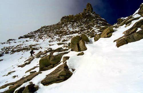 Downclimbing Hornli Ridge Matterhorn Winter
