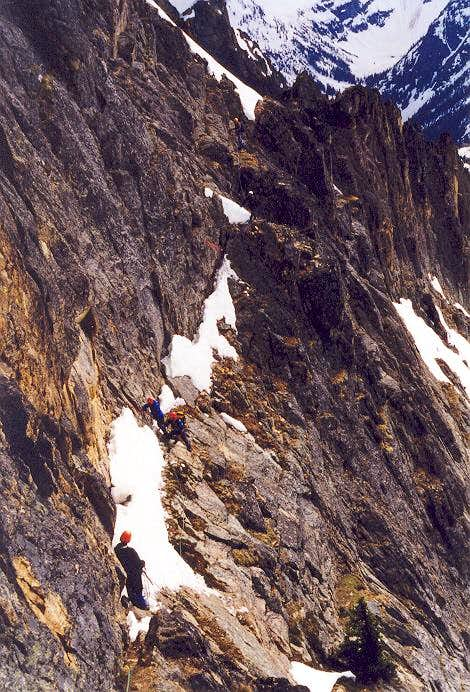 The ledge traverse along the...