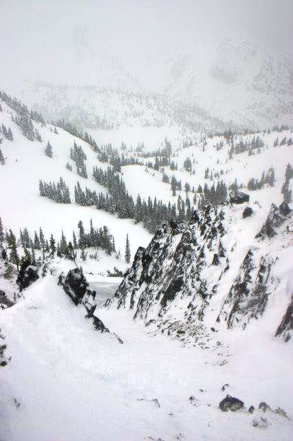 West facing chute on Three Way Peak