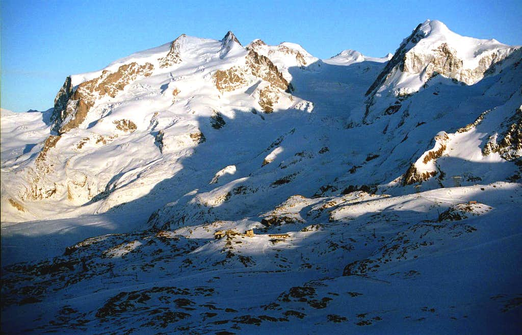 Monte Rosa as seen from Solvay Hut during Winter