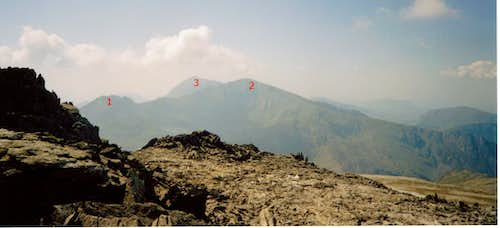 View from the Glyderau range to Snowdon Range