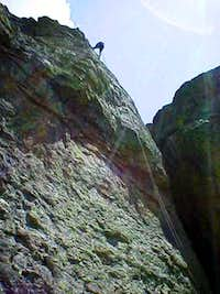 Rappelling down the big...