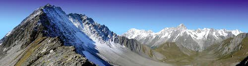 Pano view of Gd. Rochere and Mt. Blanc Group