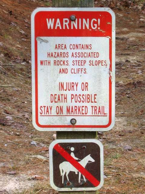 Warning sign at Little River Falls.