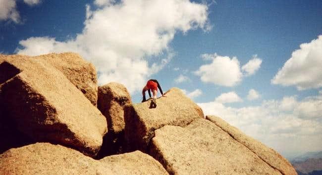 Climbing the summit block on...