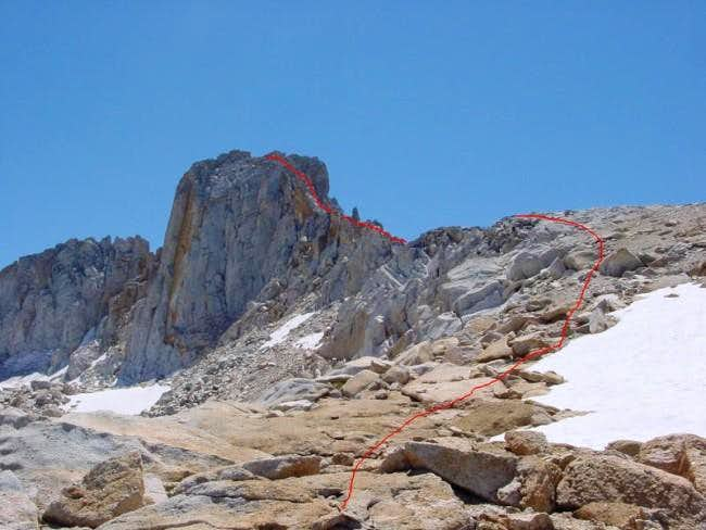 Approaching the NW Chute from...