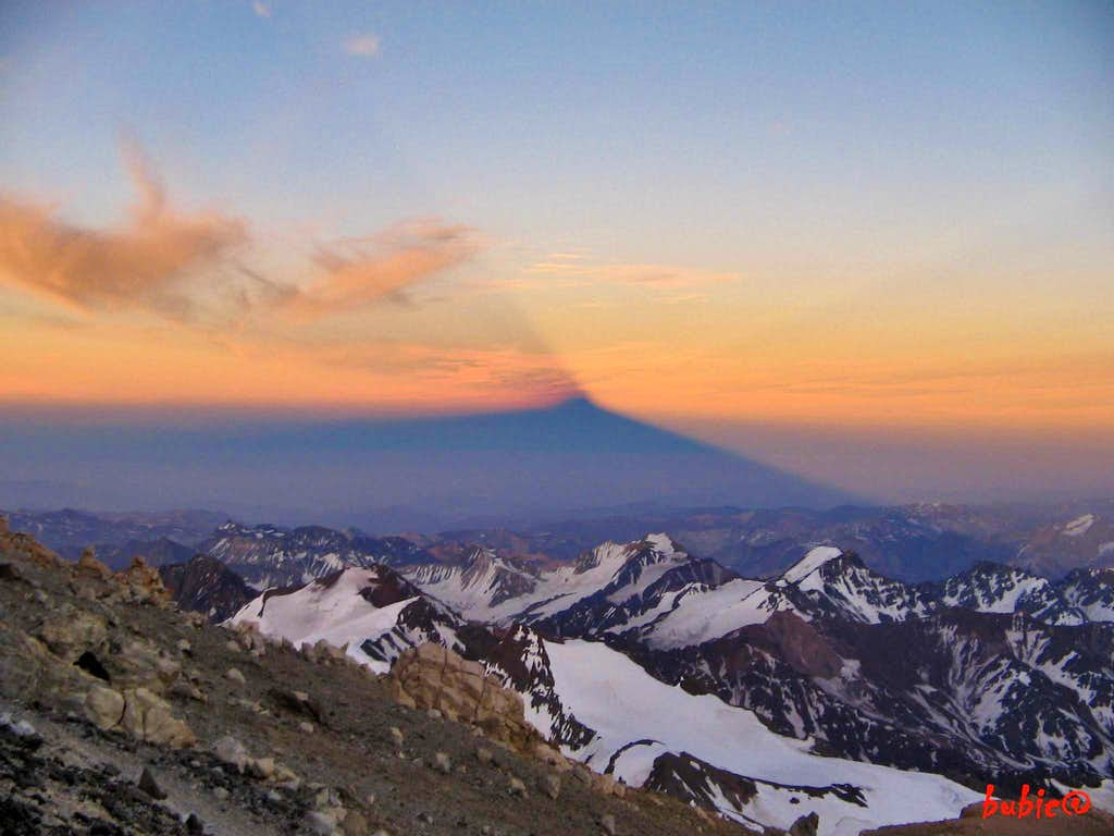 Shadow of Aconcagua in Clouds