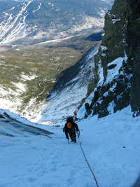 My dad, above the main ice bulge - Central Gully