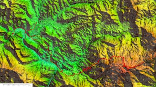 GPS track to Saddle Peak