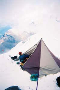 High camp on Robson's North...