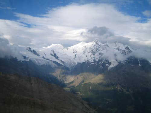 View to Albhubel, Täschhorn, Dom, Lenzspitze and Nadelhorn