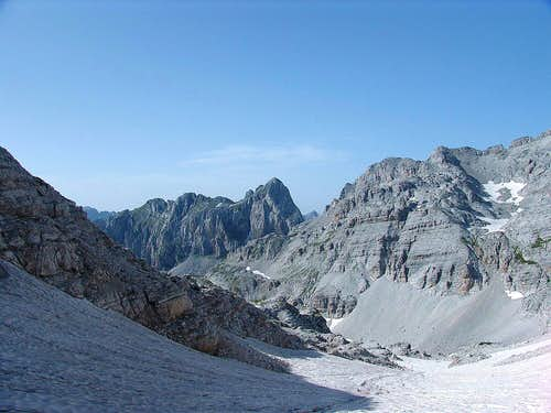 The couloir leading to the summit of Maja Popluks