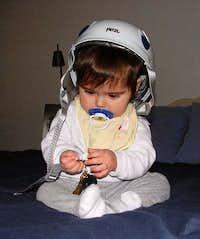 Elijah Donning His Future Climbing Helmet