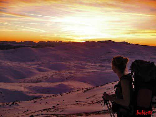 Sunset on Bjelasnica Mountain