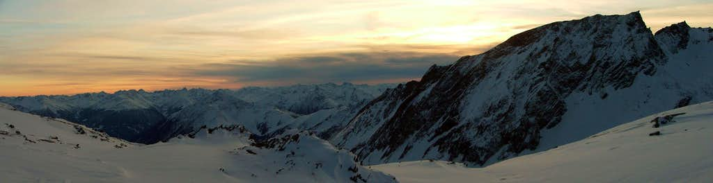 Sunset panorama from Stüdlhütte