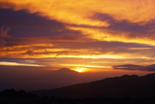 Sunset behind Mt Meru