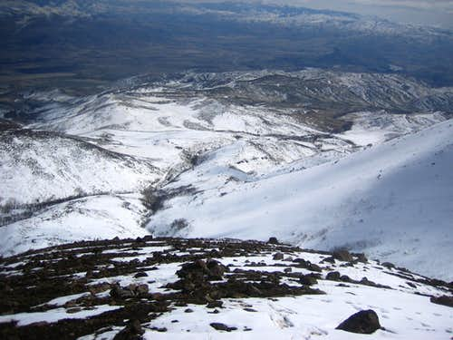 Looking down the SE slopes