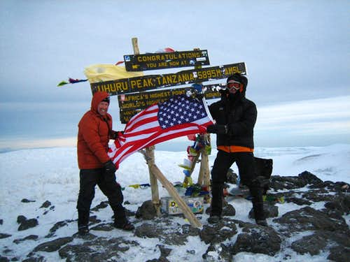 US flag on Kilimanjaro