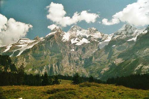 The massif of Blüemlisalp...