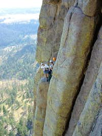 Climbers Atop the Durrance Crack. Devils Tower, Wyoming