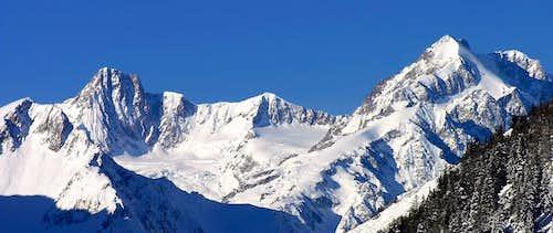 Aiguille des Glaciers 3817m and Aiguilles de Trelatète 3920m