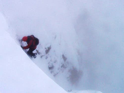 Climbing the Orsacchiotta Couloir